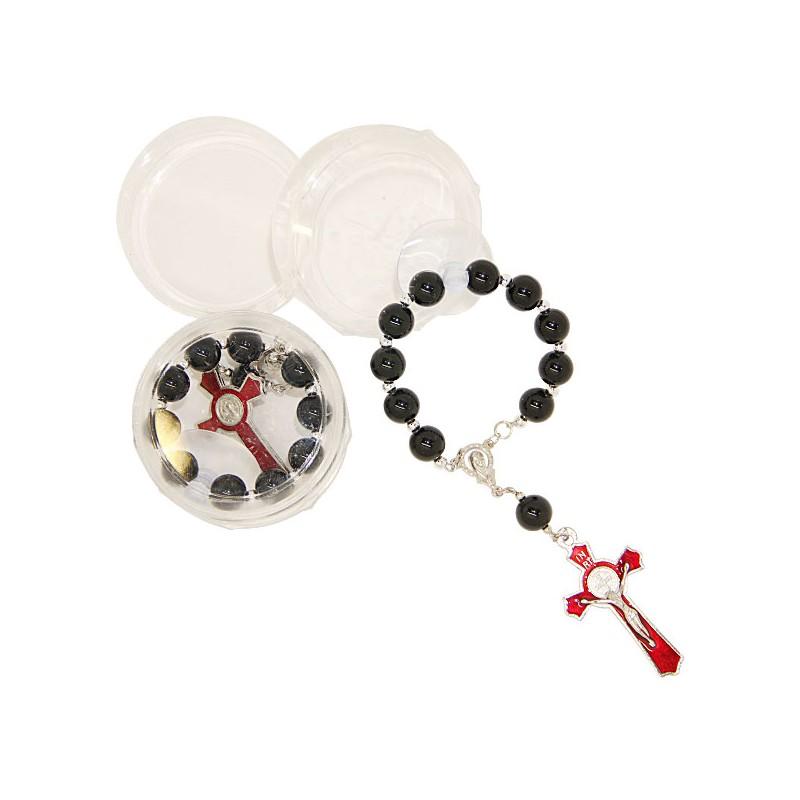 chapelet rosaire saint beno t pour voiture rouge saint christophe pro. Black Bedroom Furniture Sets. Home Design Ideas
