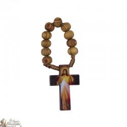 Dizainier bois d'olivier / noir au Christ Miséricordieux