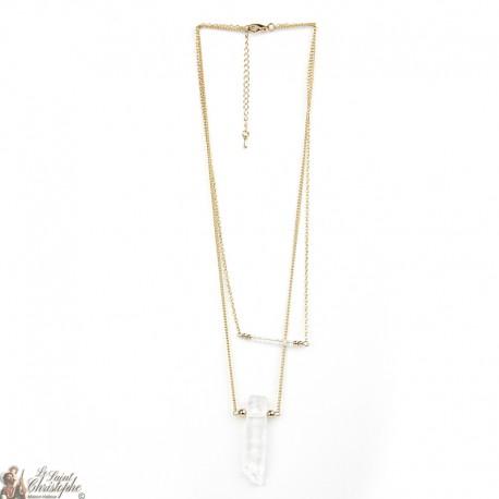 Collier double en plaqué or avec perles en cristal et pierre naturelle