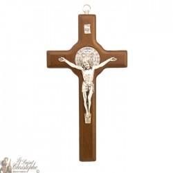 Croix Saint Benoit en bois brun - 20 cm