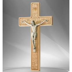 Croix bois sculptée fleurie avec christ - 16 cm