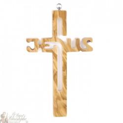 Croix bois sculptée avec texte jesus