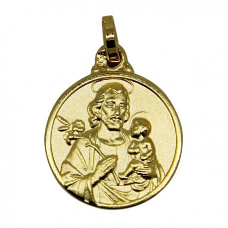 Médaille Saint Joseph plaqué or - 14 mm