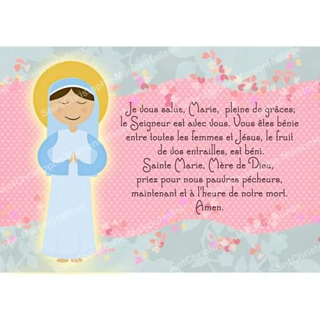 Carte postale aimantée prière - Je vous salue Marie - style enfant