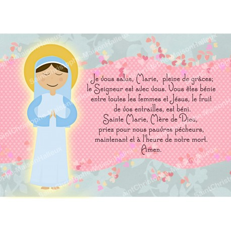 Postcard Magnet Prayer - Hail Mary - Child Style