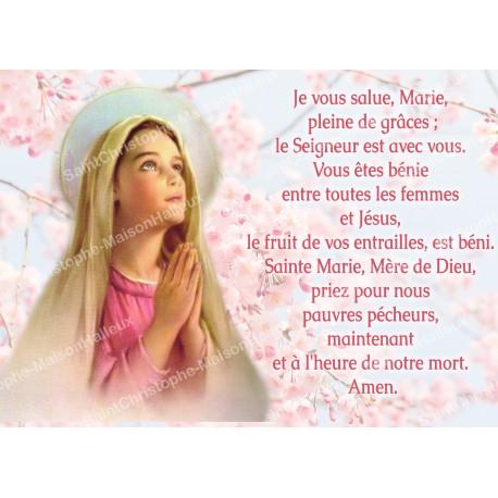 Carte postale aimantée prière - Je vous salue Marie