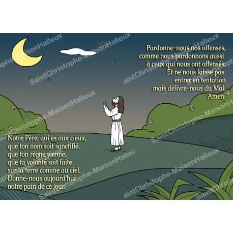 Carte postale aimantée prière - Notre Père - Style enfant