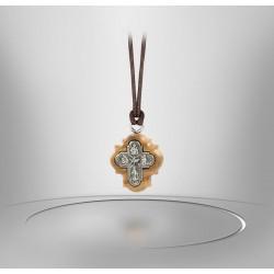 Cross pendant metal Holy Spirit - Patron Saints - olive wood