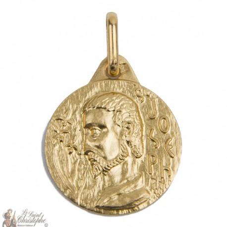 Médaille Saint Joseph plaqué or - 15 mm