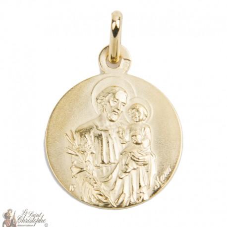 Médaille Saint Joseph plaqué or - 18 mm