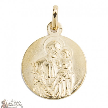 Medal Saint Joseph gold plated - 18 mm