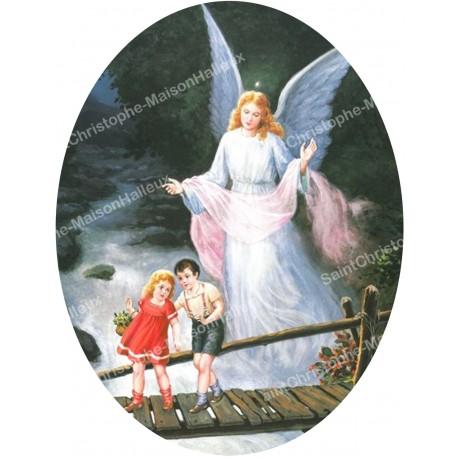 Oval Sticker - guardian angel