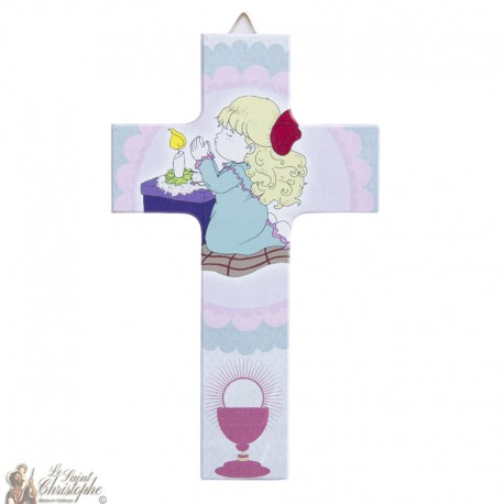Wooden cross pink Angel - 15 cm