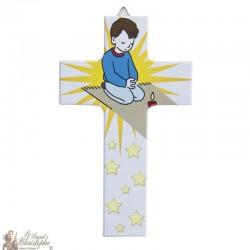 Croix en bois Garçon - 15 cm