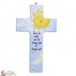 Croix en bois Soleil  - 15 cm