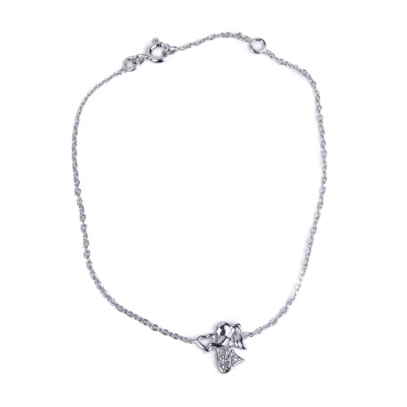 Angel Heart and Rhinestone Bracelet - 925 Silver