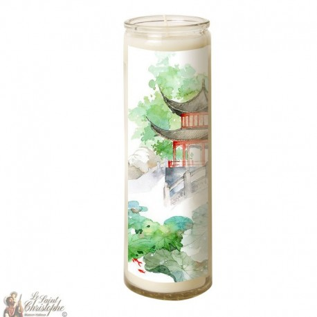 7 days candle in Japanese Zen glass