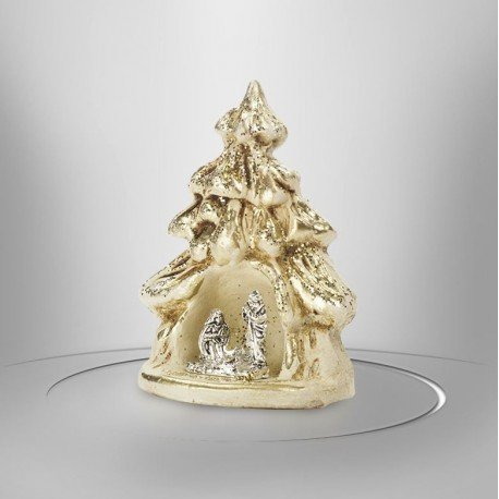 Cream-coloured clay nativity scene with gilding - 7.5 cm