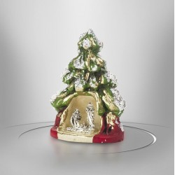 Cream-coloured clay nativity scene with gilding - 7.5 cm