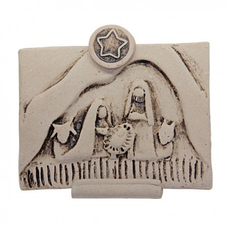 Carved iconic plaque of the Holy Family in terracotta