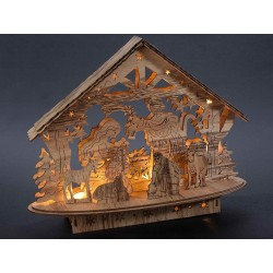 Lighted natural wood crib - LED