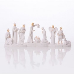 Modern white Christmas crib - resin