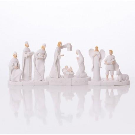 Modern white Christmas crib - resin