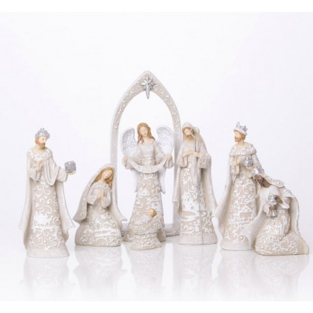 Modern resin Christmas crib - 7 pieces
