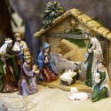 Resin Christmas crib with stable - 10 pieces