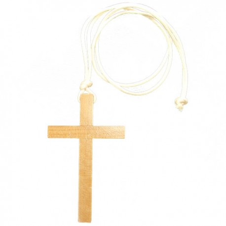 Wooden communion cross necklace