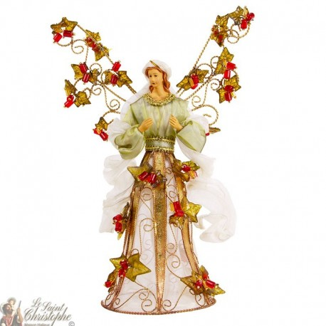 Metal angel with white dress and pearls - 33 cm