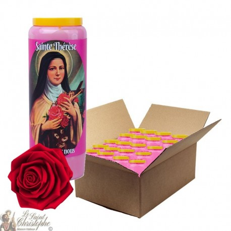 Rose-scented novena candle for Sainte Thérèse de Lisieux - box 20 pieces
