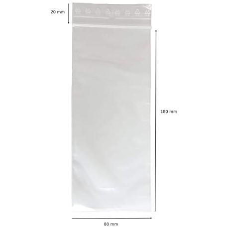 Plastic zip bag 8 x18cm