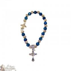 Blue and silver beads bracelet Medjugorje