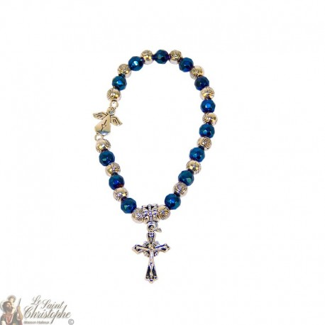 Blue and silver beads bracelet Medjugorje