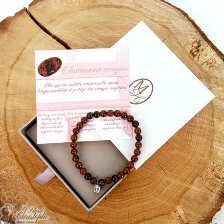 Natural stone bracelet Mahogany obsidian