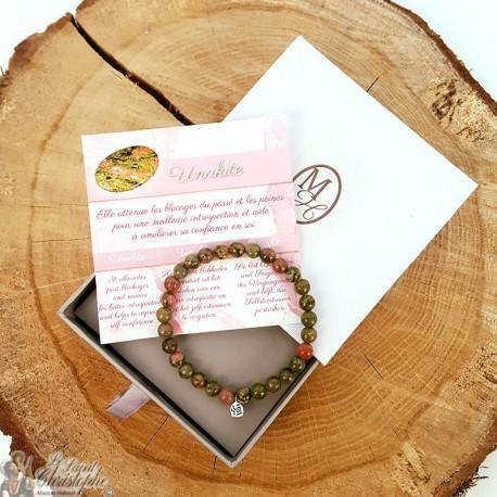 Unakite natural stone bracelet