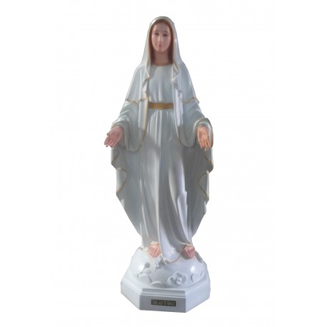 Vierge Miraculeuse robe jaune et blanche 120 cm