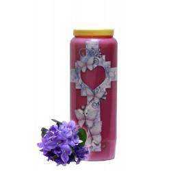 Bougies Neuvaines - Mauves - parfum Violette - Croix Cœur Papillons