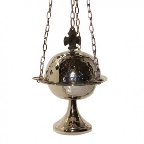 Encensoir en métal argenté avec croix