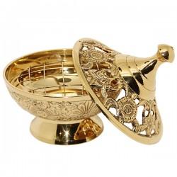 Encensoir sculpté en cuivre - Hauteur 11 cm
