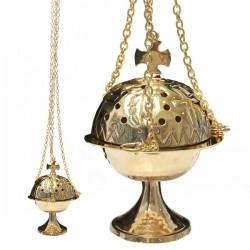Encensoir avec croix à suspendre - cuivre martelé