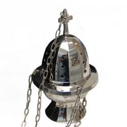 Encensoir à suspendre en métal couleur argenté - 17 cm