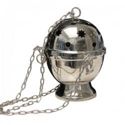 Encensoir étoilé à suspendre en métal couleur argenté - 15 cm