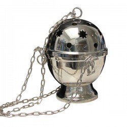 Starry censer hanging metal silver color - 15 cm