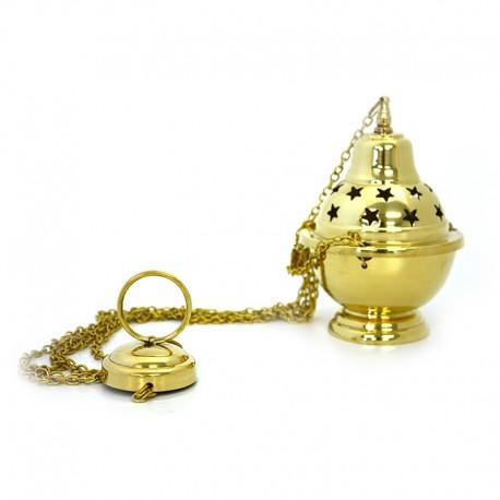 Encensoir en cuivre, sculpté, étoile, avec chaîne