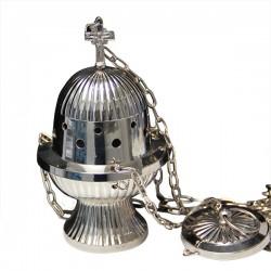 Encensoir à suspendre en métal couleur argenté - 18 cm