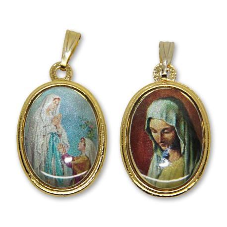 Médaille de la Vierge de Banneux et apparition de Lourdes  ovale