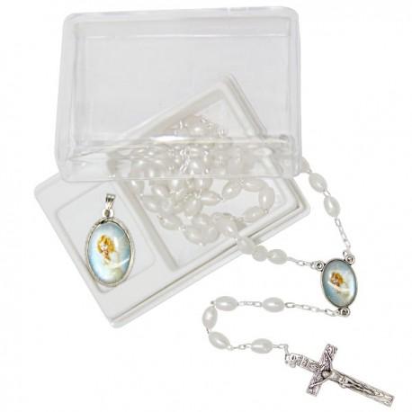 Chapelet avec boite et médaille - Communion