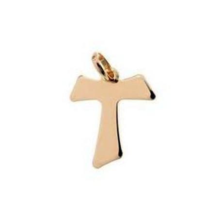 Croix Tau plaqué or 10 mm